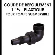 """Coude refoulement 1"""" 1/2 plastique pour pompe submersible-20"""