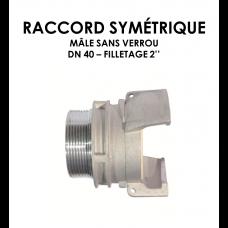 """Raccord symétrique mâle sans verrou DN raccord 40 Filetage 2"""" 1/2-20"""