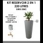 Kit reservoir 2 en 1 Linus 220 litres Gris Zinc