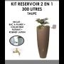 Kit reservoir 2 en 1 300 litres Taupe avec bac à fleur amovible