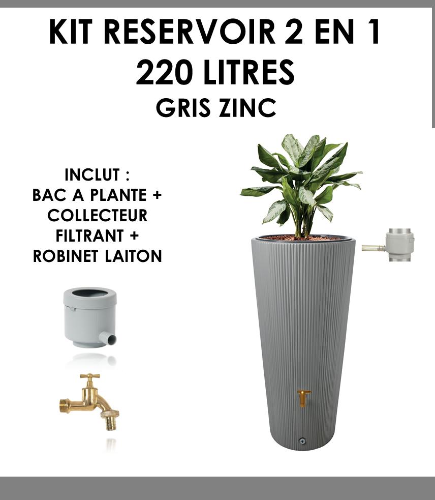 Kit reservoir 2 en 1 Linus 220 litres Gris Zinc-01