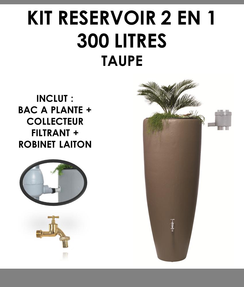 Kit reservoir 2 en 1 300 litres Taupe avec bac à fleur amovible-01