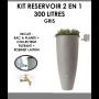 Kit reservoir 2 en 1 300 litres Gris avec bac à fleur amovible