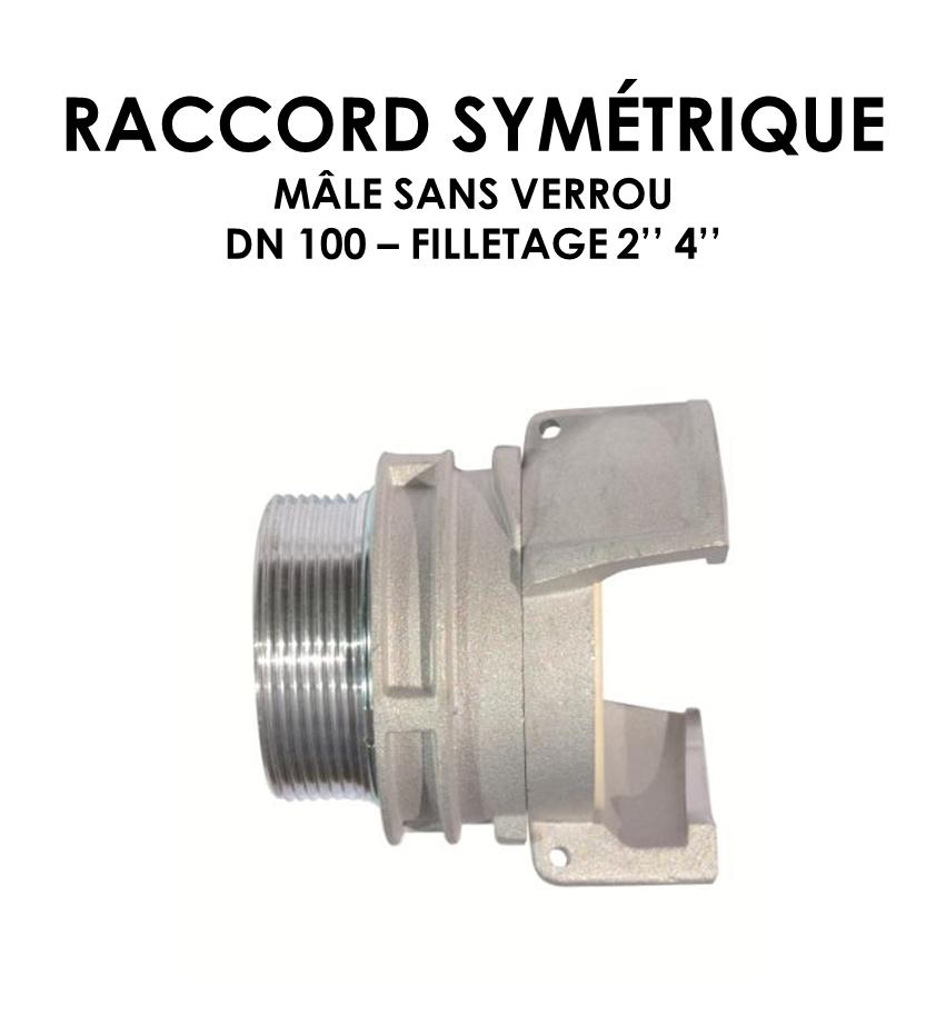 Raccord symétrique mâle sans verrou DN raccord 100-01
