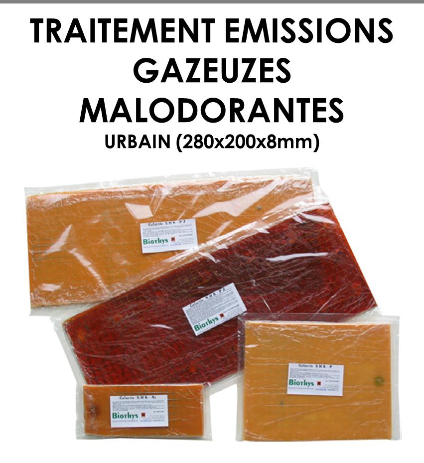 Plaque polymériques pour traitement d'émissions gazeuses malodorantes URBAIN-01